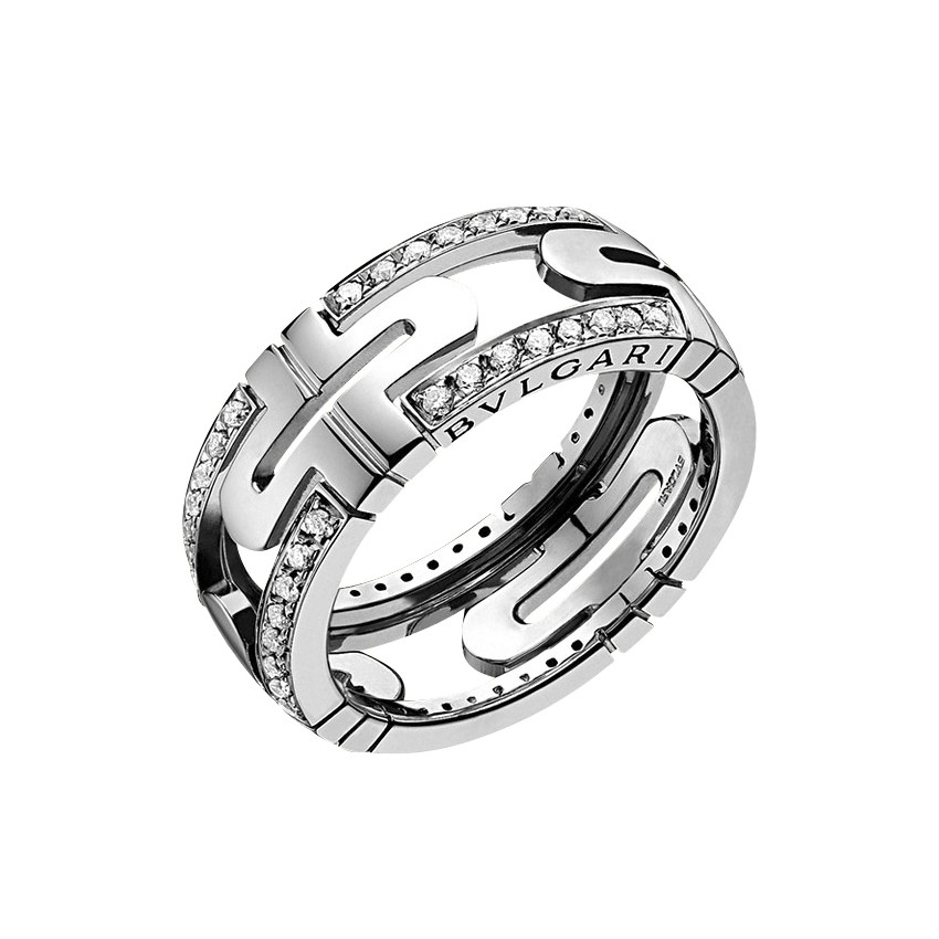 Bulgari Small Parentesi 18k White Gold Amp Diamond Band