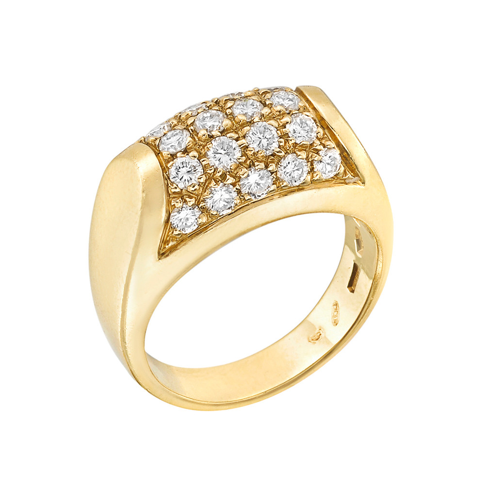 "18k Yellow Gold & Diamond ""Tronchetto"" Ring"