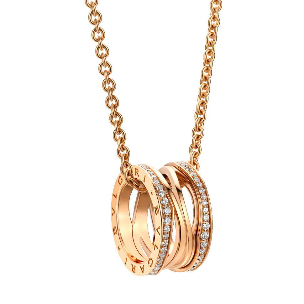 "18k Pink Gold & Diamond ""BZero1"" Spiral Pendant Necklace"