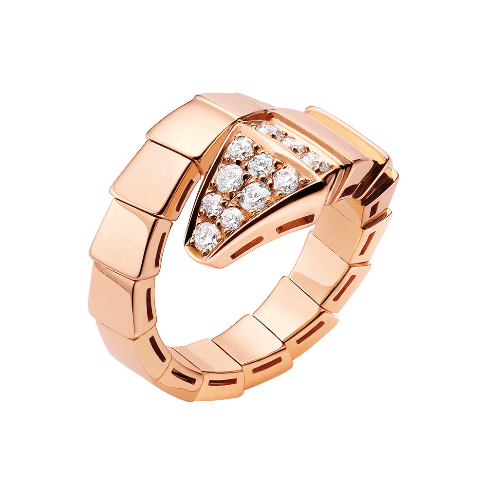 "18k Pink Gold & Diamond ""Serpenti"" Ring"