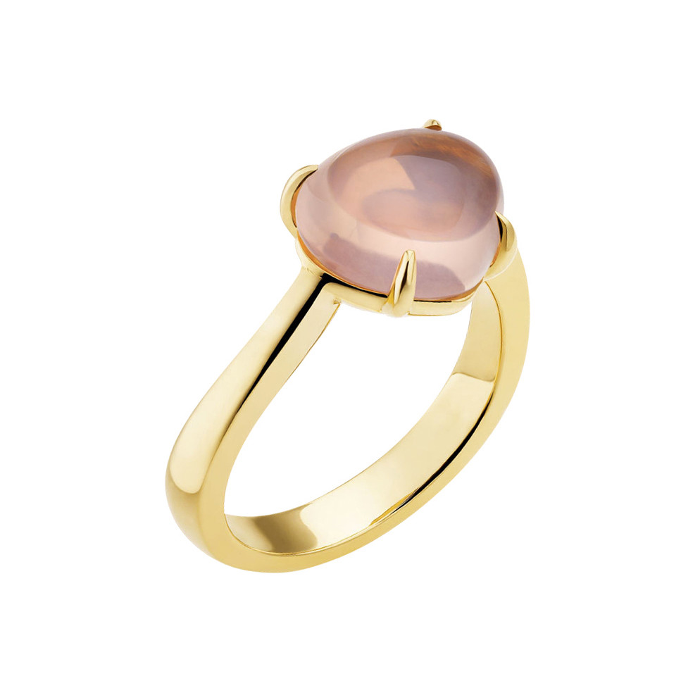 "18k Yellow Gold & Pink Quartz ""Sassi"" Ring"