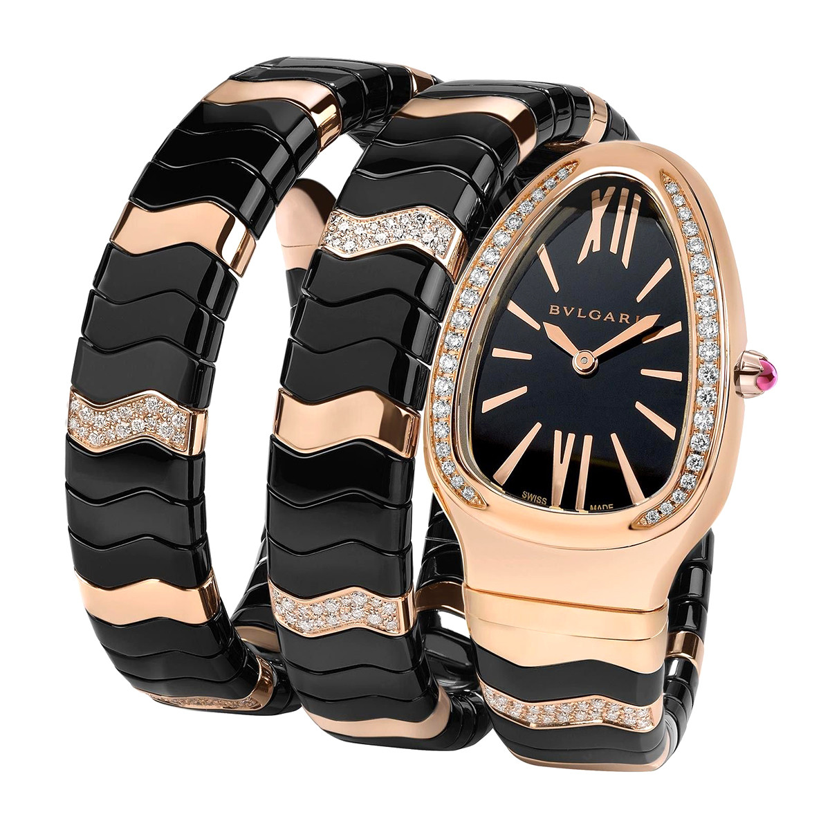 Serpenti Spiga Pink Gold & Black Ceramic (102128)