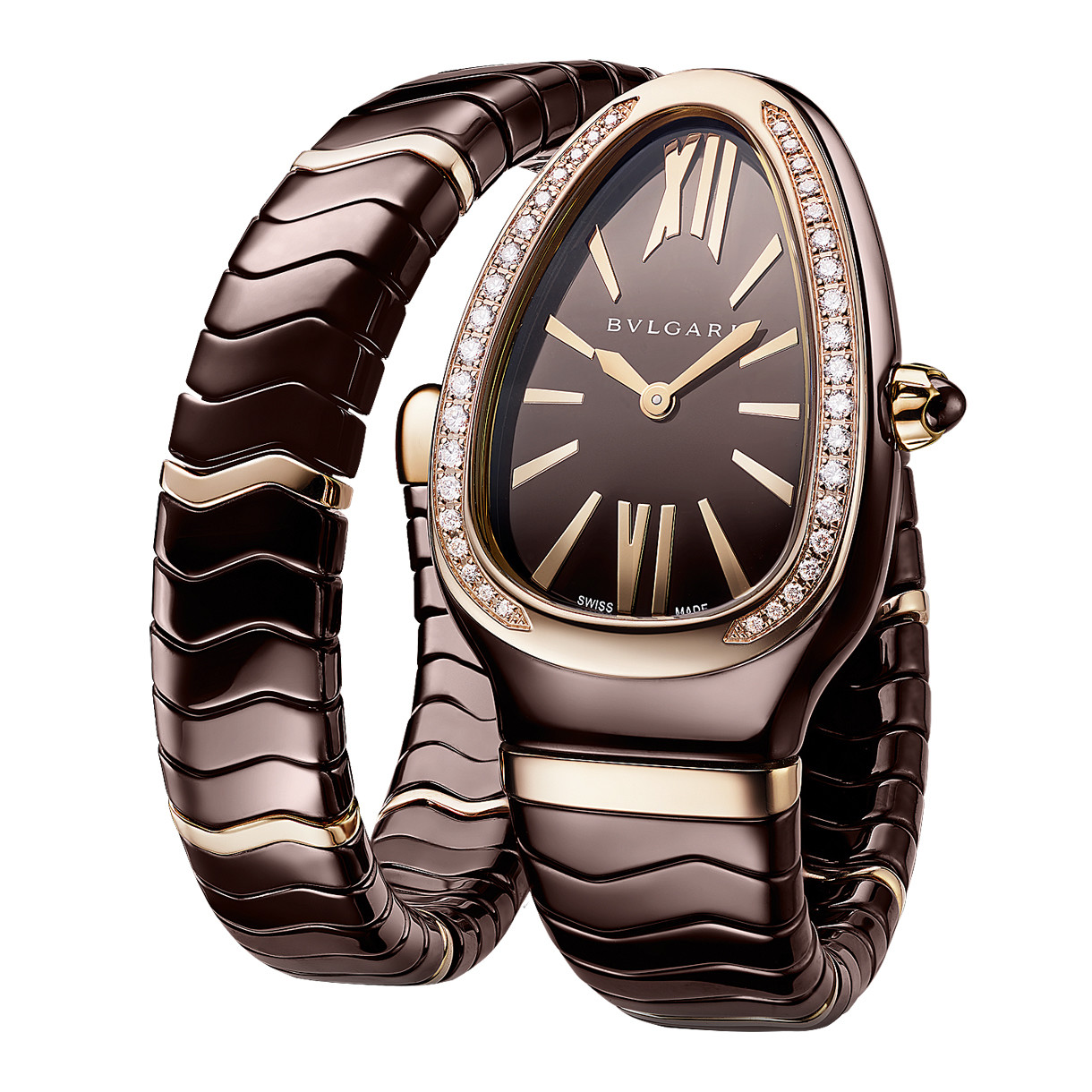 Serpenti Spiga Rose Gold & Brown Ceramic (103060)