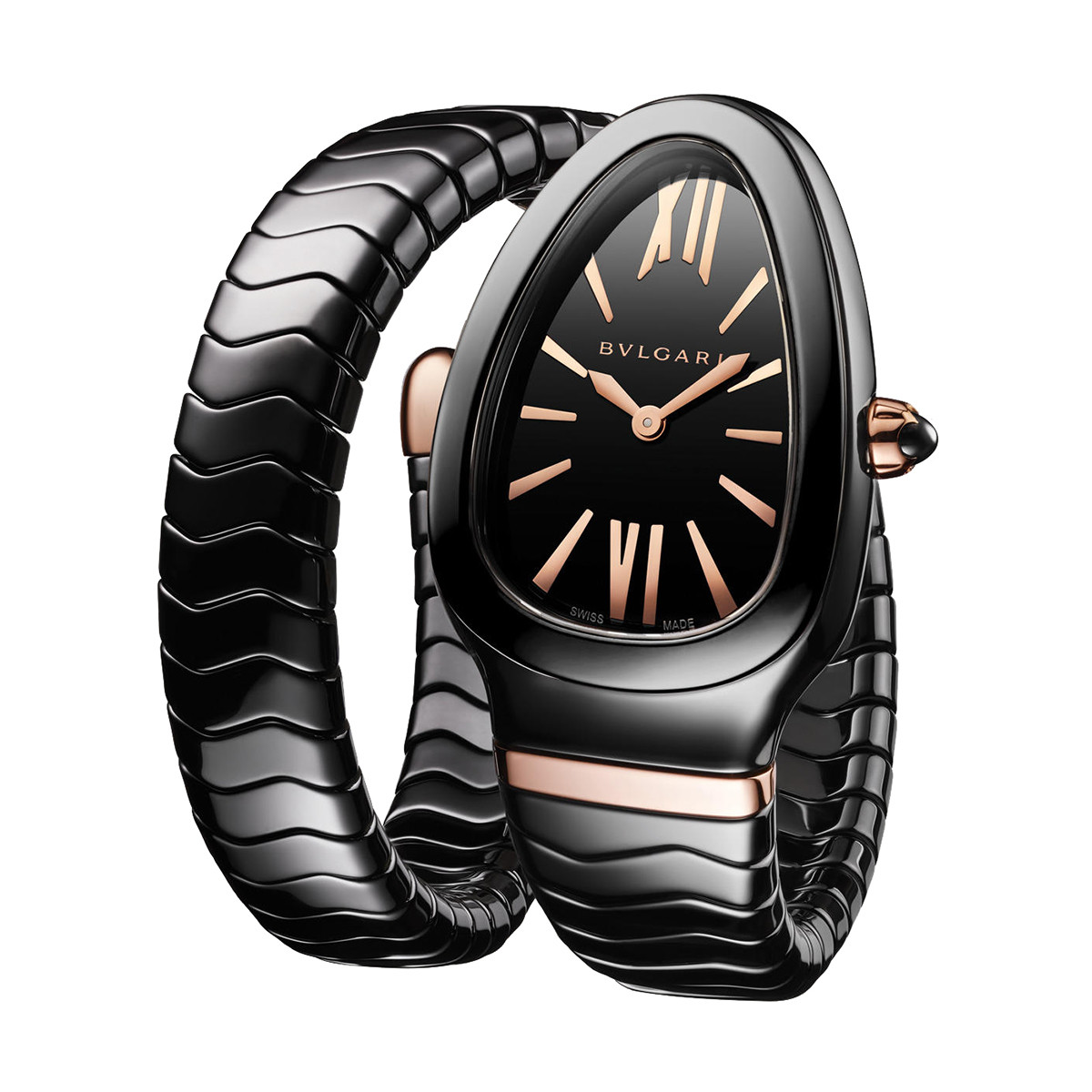 Serpenti Spiga Black Ceramic & Pink Gold (102734)