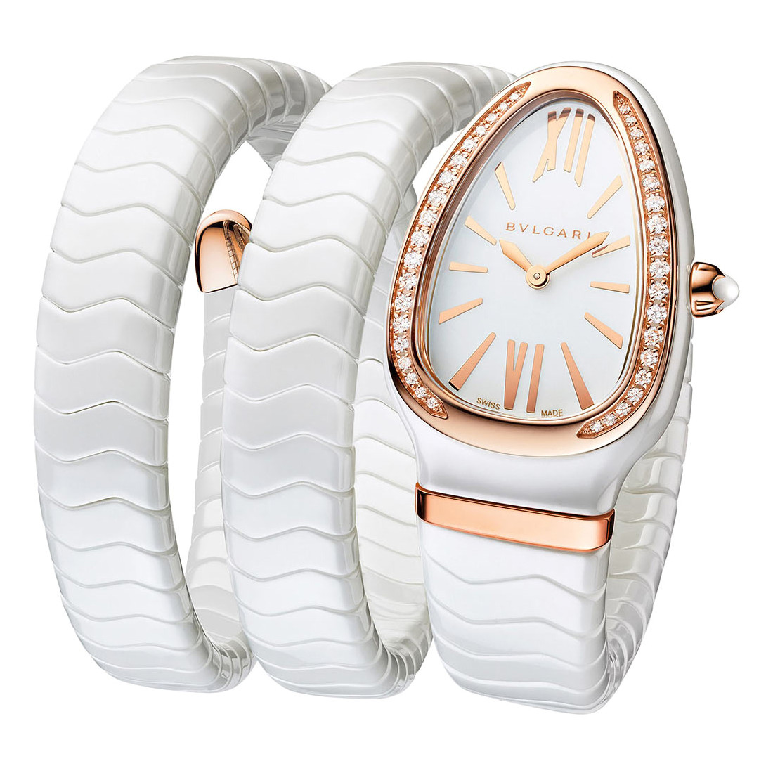 Serpenti Spiga White Ceramic & Rose Gold (102886)
