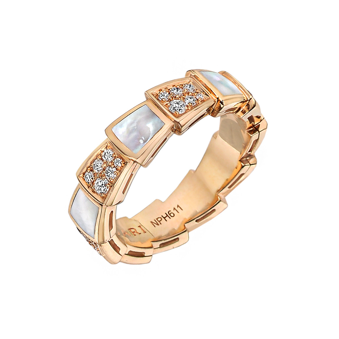 "Diamond & Mother-of-Pearl ""Serpenti Viper"" Ring"