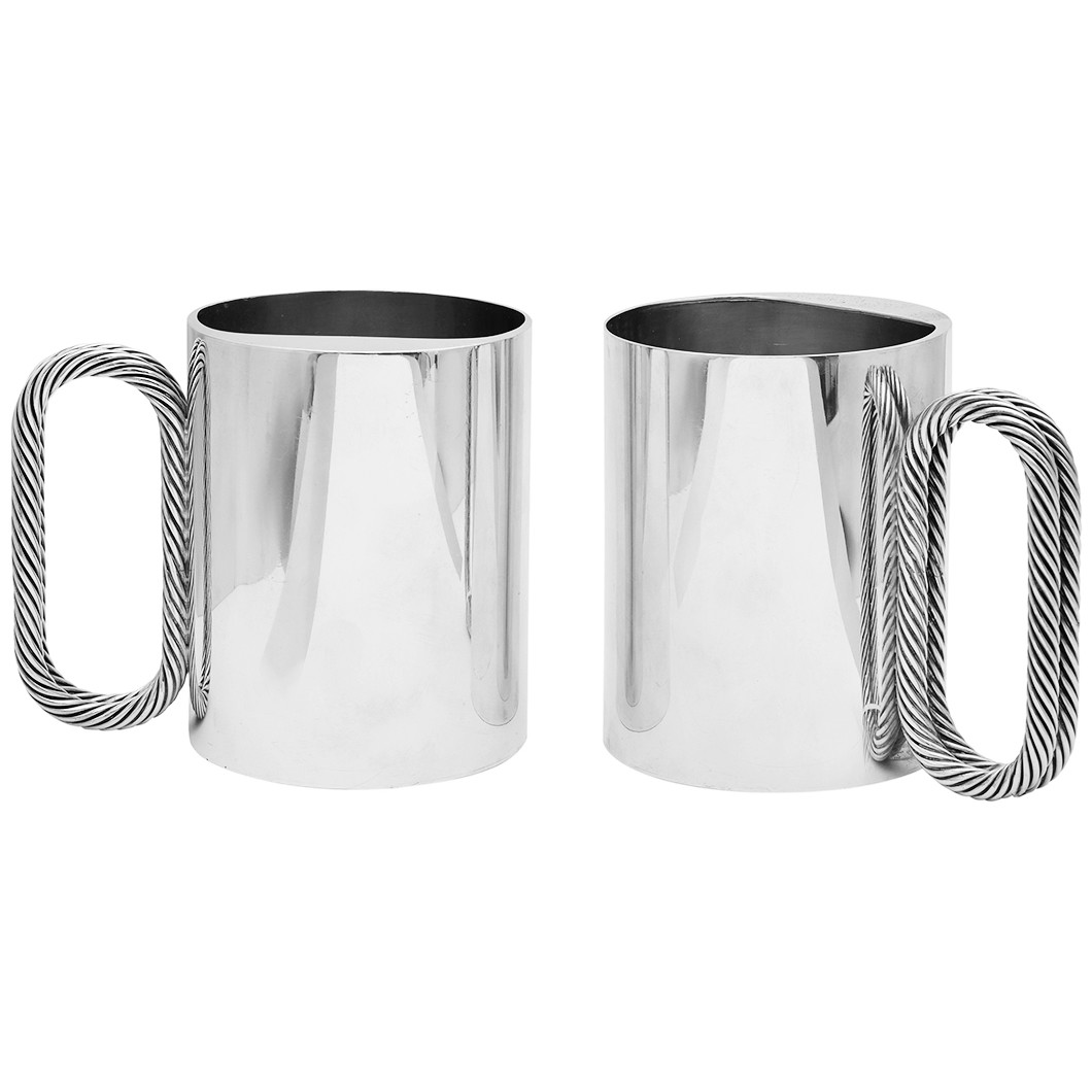 Pair of Sterling Silver Beer Mugs