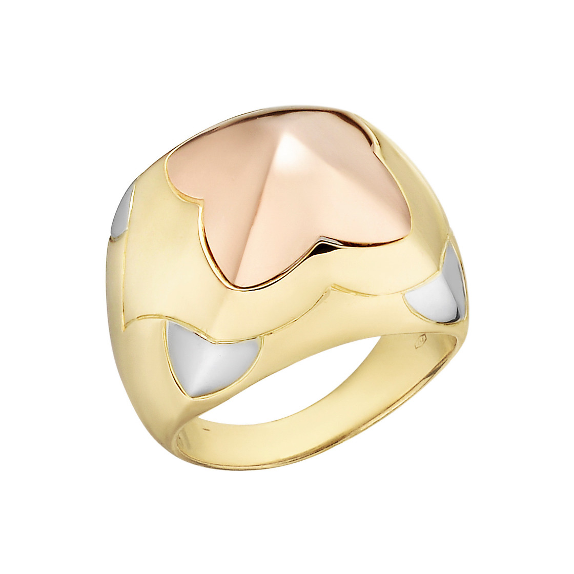 "18k Tricolored Gold ""Piramide"" Cocktail Ring"