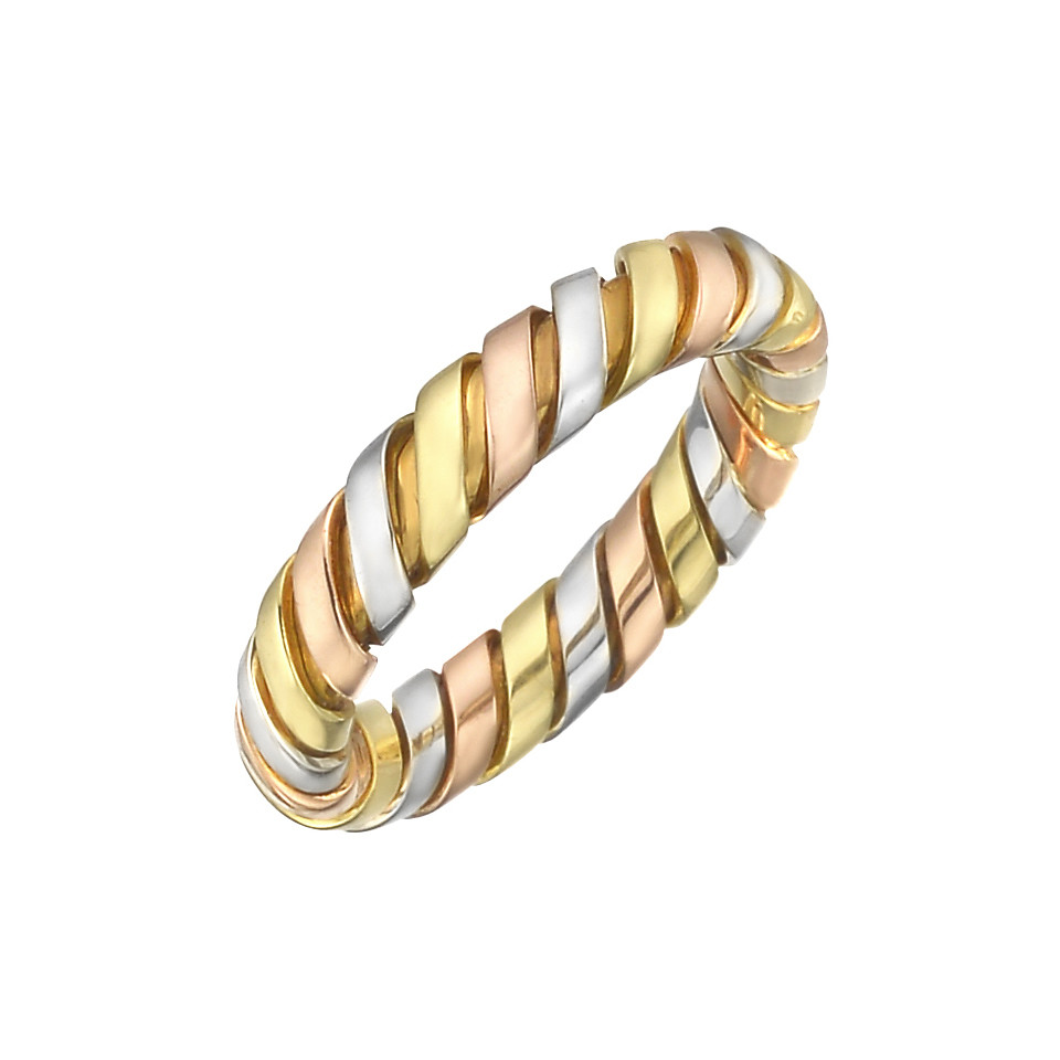 "18k Tricolored Gold ""Tubogas"" Band Ring"