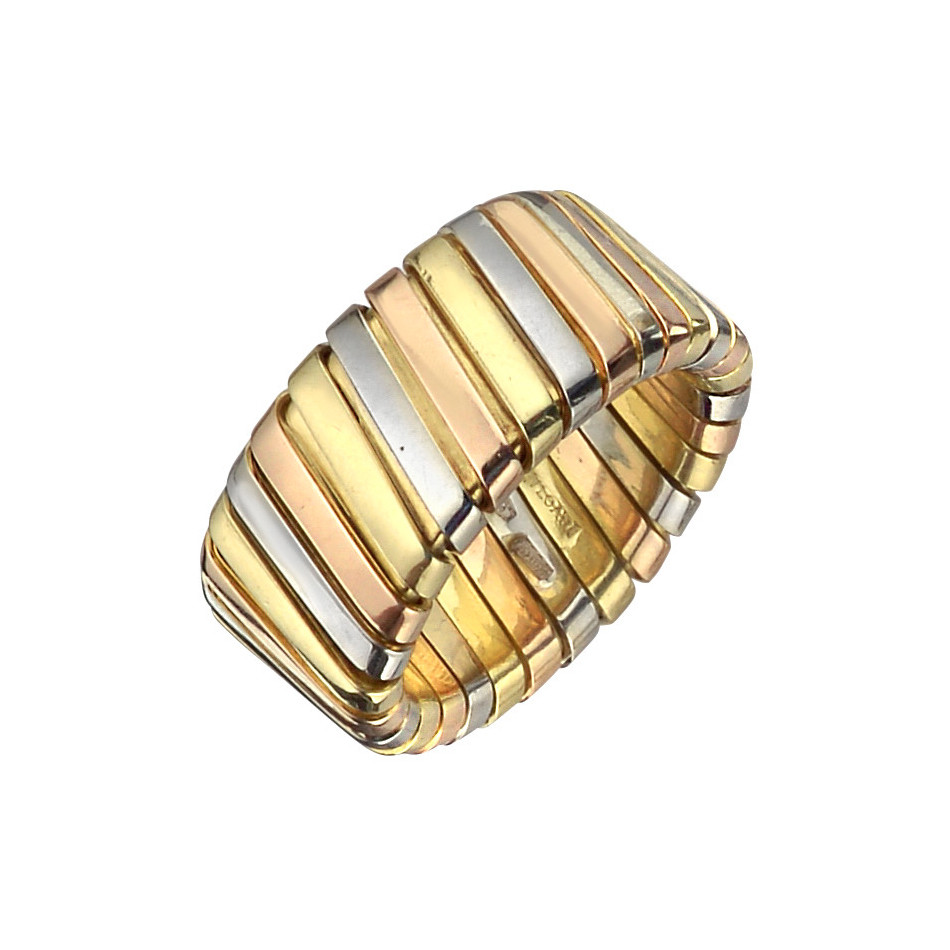 18k Tricolored Gold Wide Tubogas Band Ring