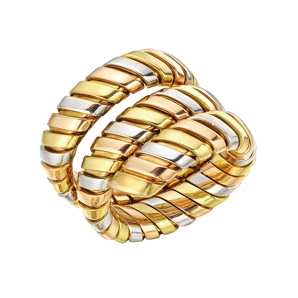 "18k Tricolored Gold ""Tubogas"" Wrap Ring"