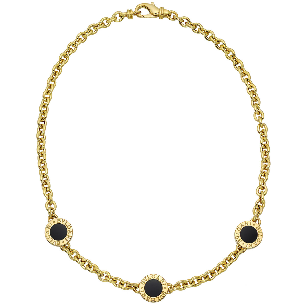 18k Yellow Gold & Black Onyx Station Necklace