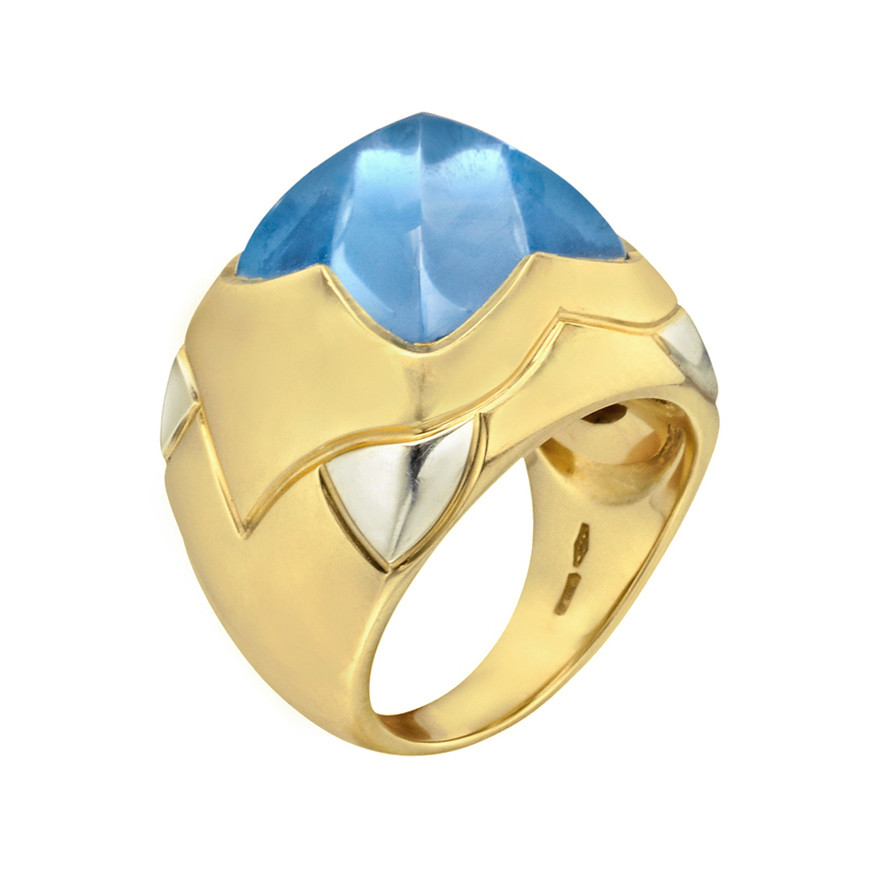 "18k Gold & Blue Topaz ""Piramide"" Cocktail Ring"