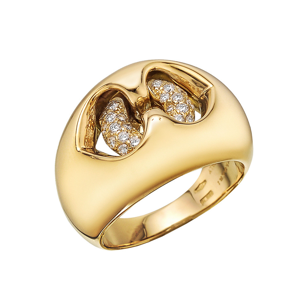 18k Yellow Gold & Diamond Dome Ring