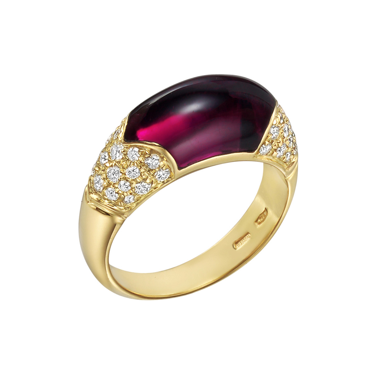 18k Yellow Gold, Rhodolite Garnet & Diamond Ring