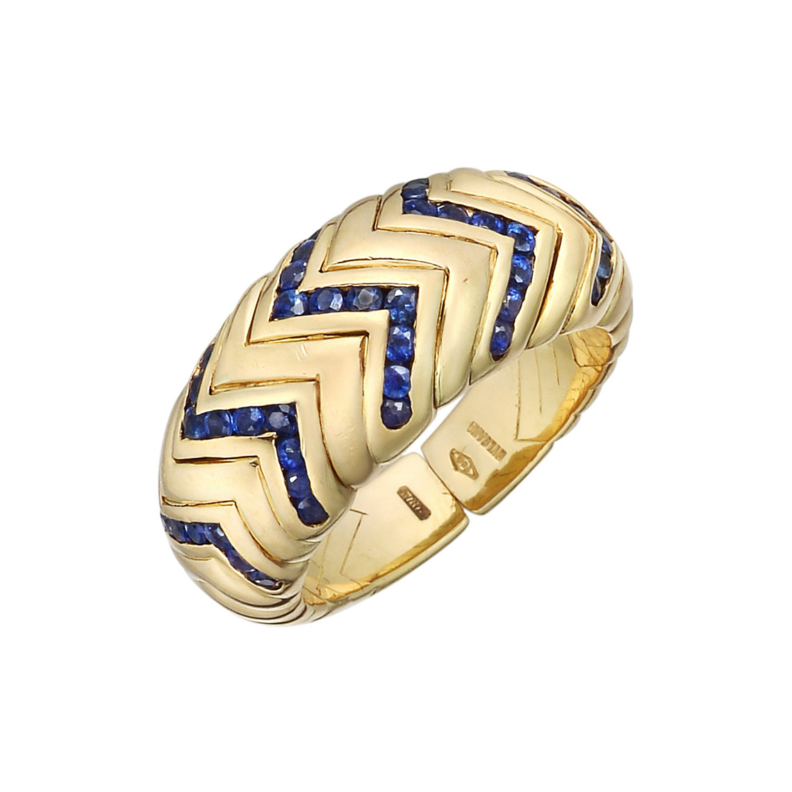 "18k Yellow Gold & Sapphire ""Spiga"" Band Ring"