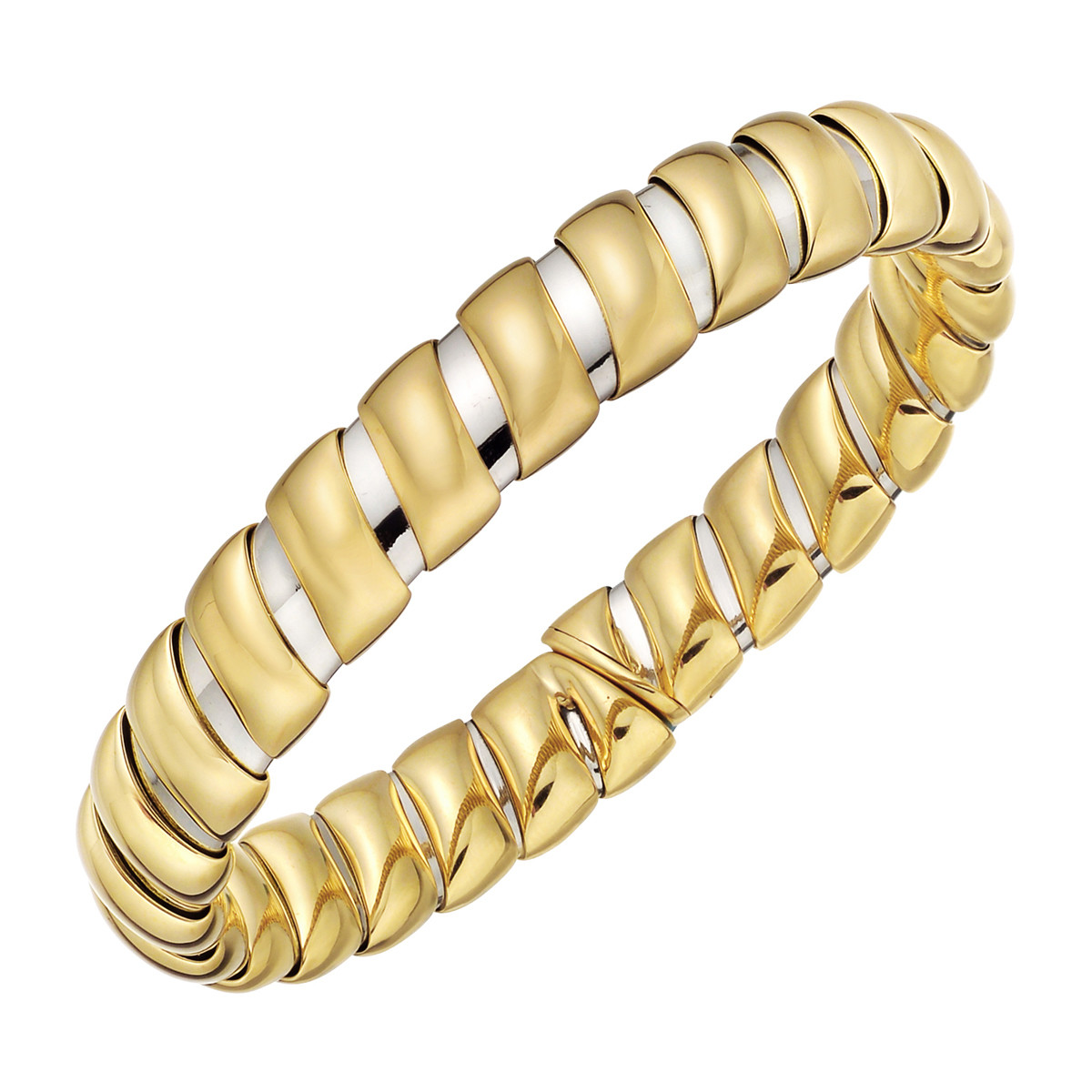 18k Yellow Gold & Steel Cuff Bracelet