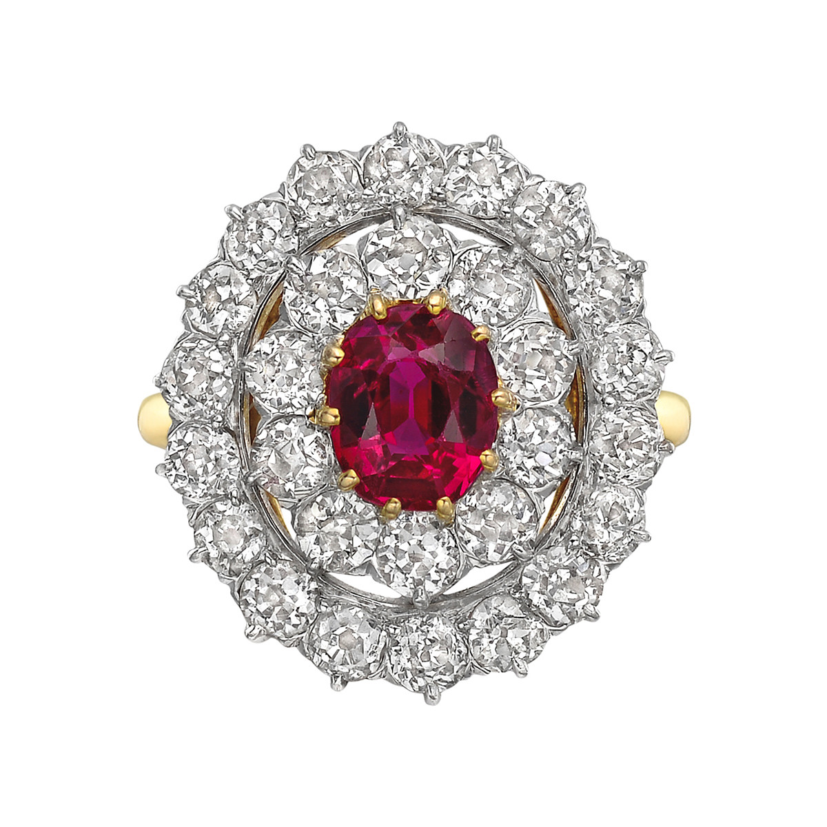 0.97 Carat Burmese Ruby & Diamond Ring