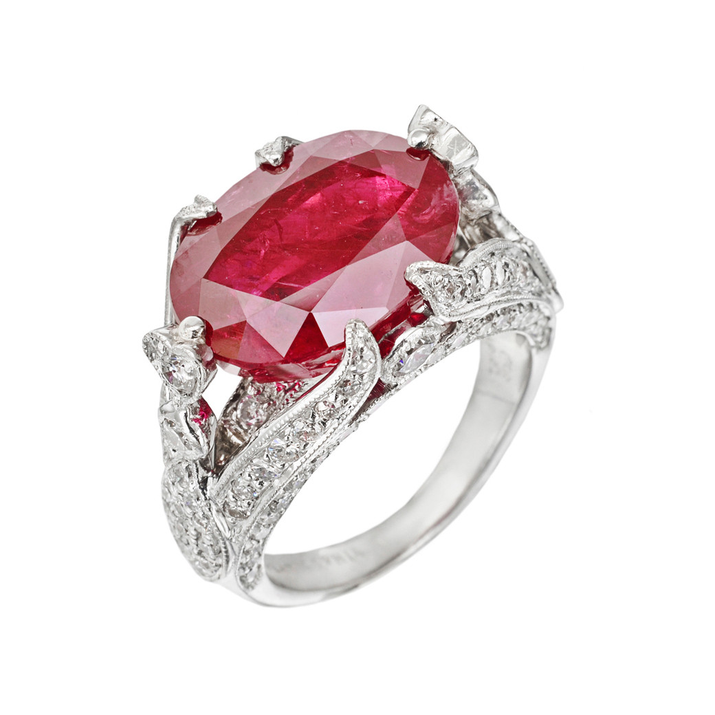 Custom Burma Ruby Ring: Burmese Ruby & Diamond Ring