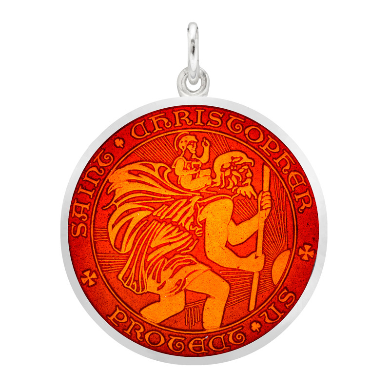 Large Silver St. Christopher Medal with Red Enamel