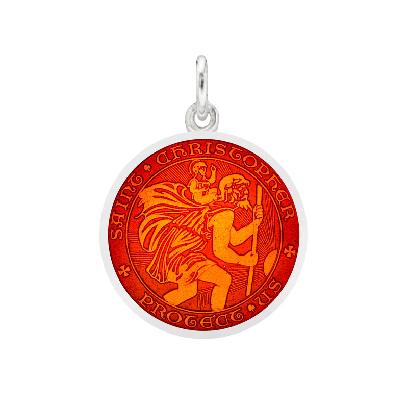 Small Silver St. Christopher Medal with Red Enamel