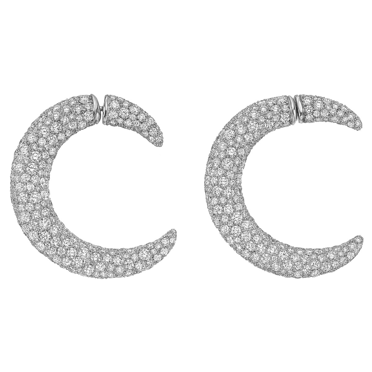 Pavé Diamond Crescent Open Hoop Earrings