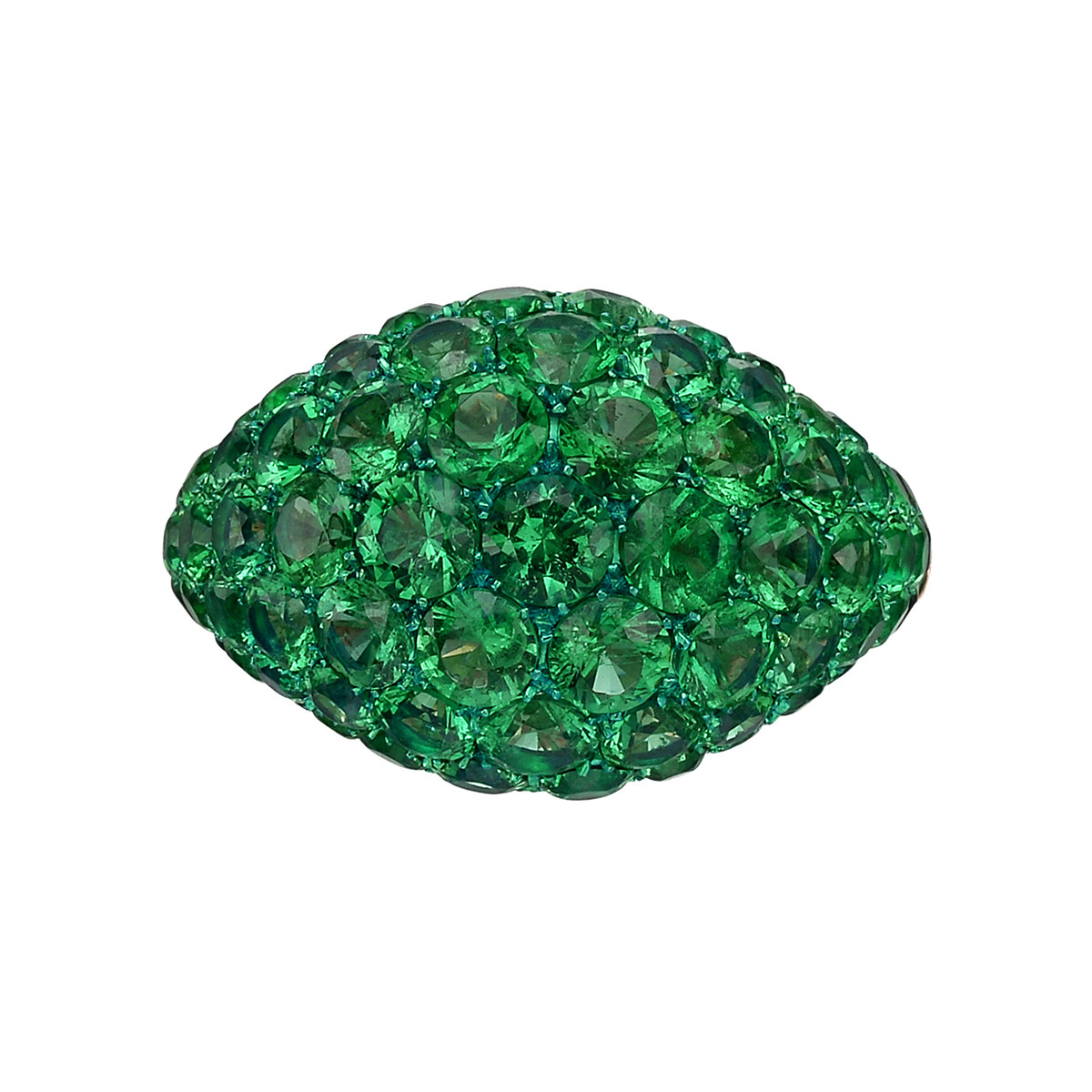 Pavé Emerald Domed Band Ring