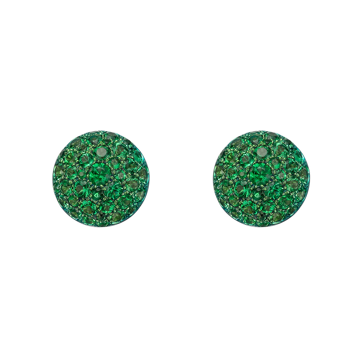 Pavé Emerald Domed Stud Earrings