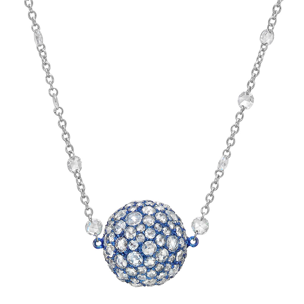 Pavé Rose-Cut Diamond Ball Pendant Necklace
