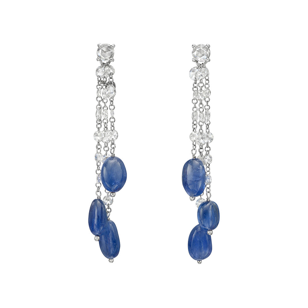 Sapphire & Diamond Chain Earrings