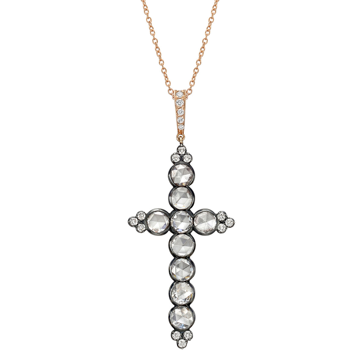 Rose-Cut Diamond Cross Pendant Necklace