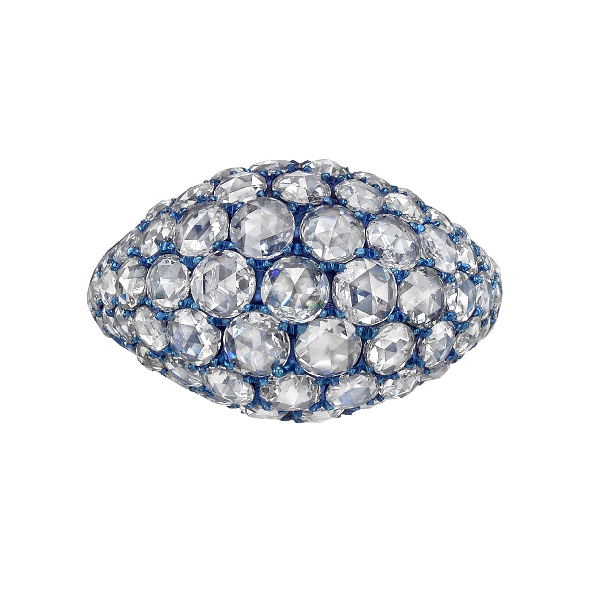 Pavé Rose-Cut Diamond Domed Band Ring