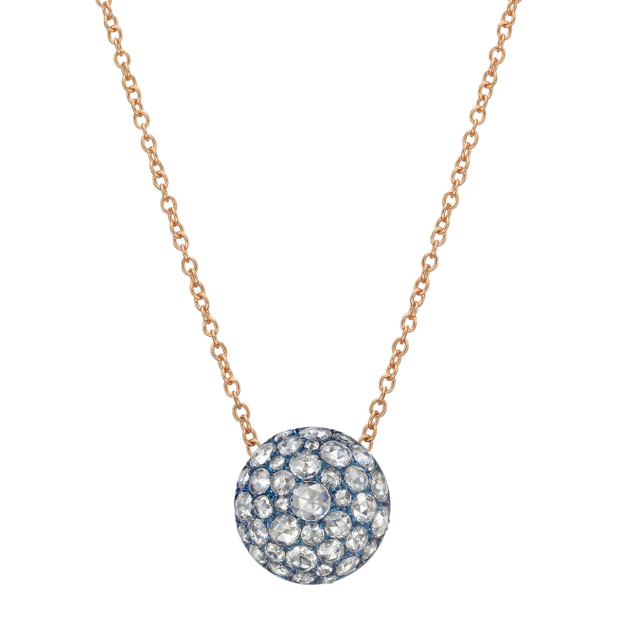 Pavé Rose-Cut Diamond Domed Pendant Necklace