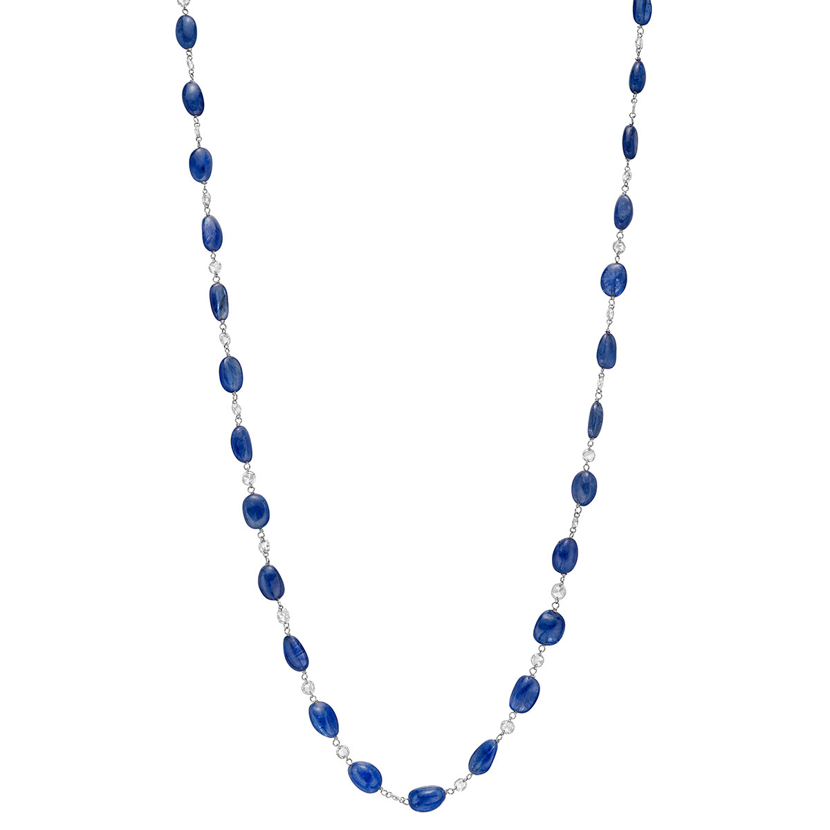 Sapphire & Diamond Long Chain Necklace