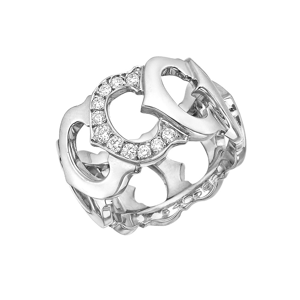 "18k White Gold & Diamond ""C de Cartier"" Ring"