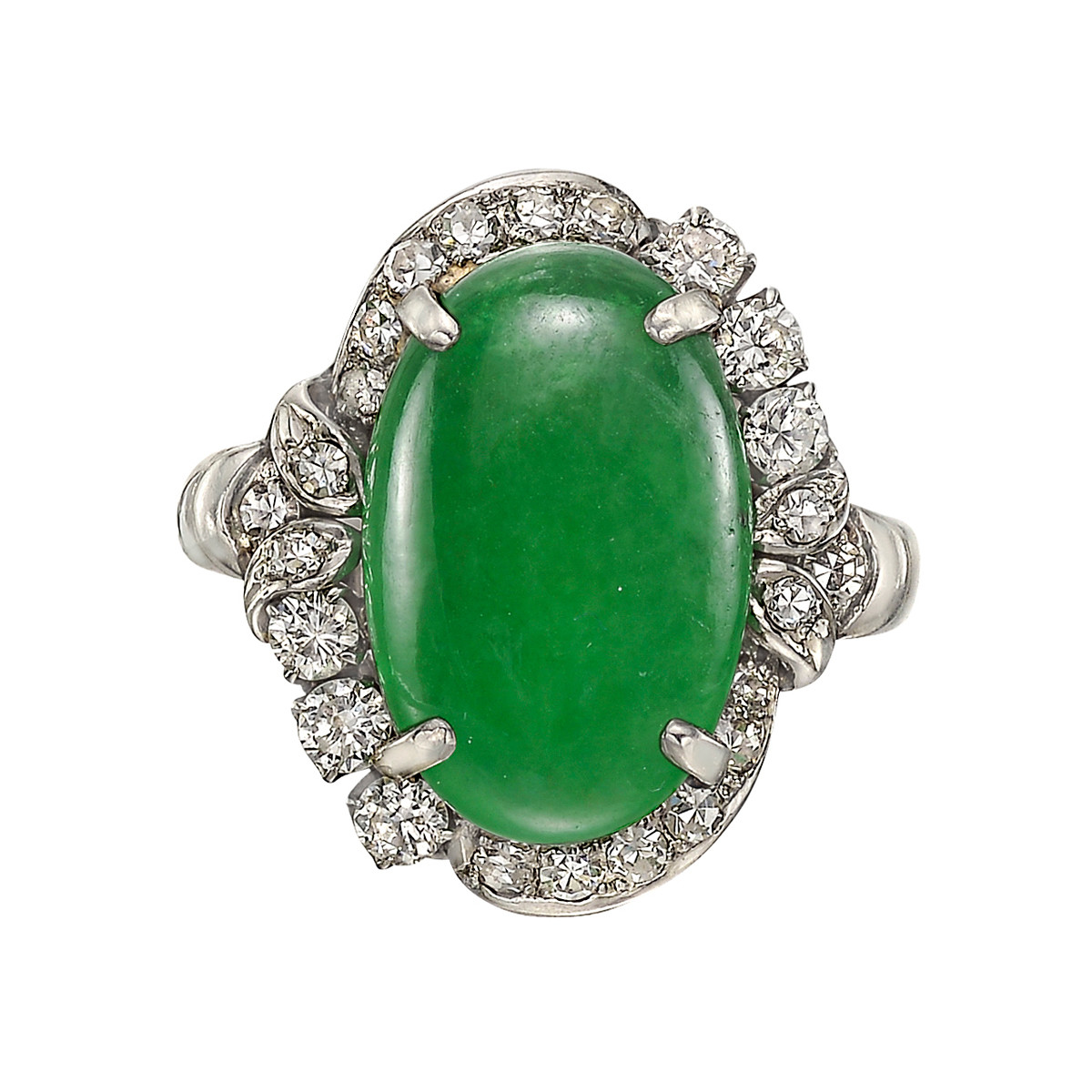 6.83ct Jade & Diamond Cluster Ring