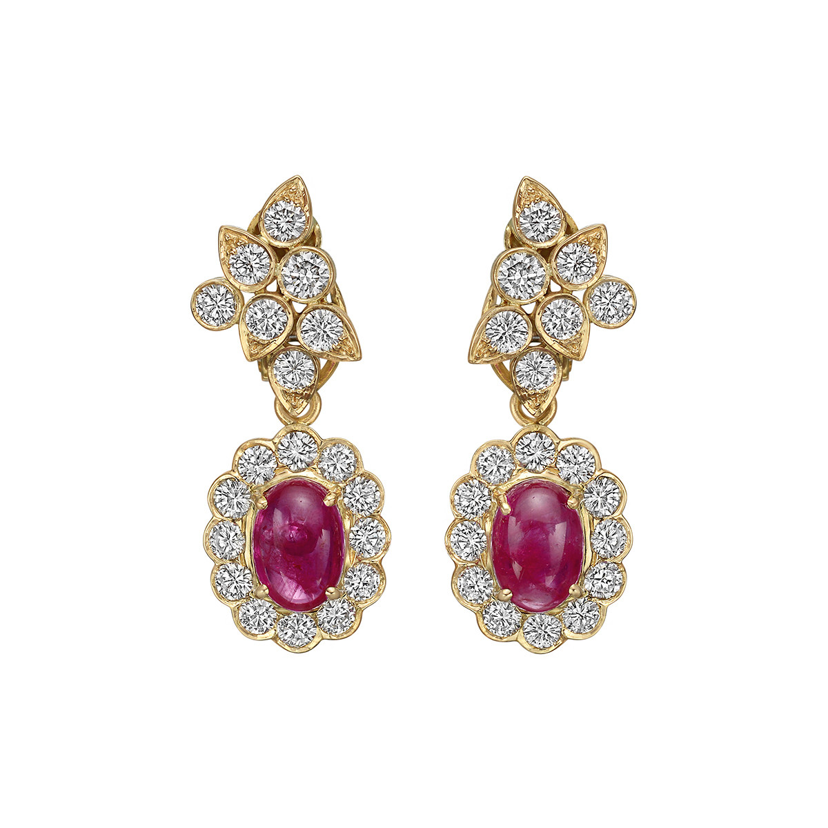 Cabochon Ruby & Diamond Pendant Earrings