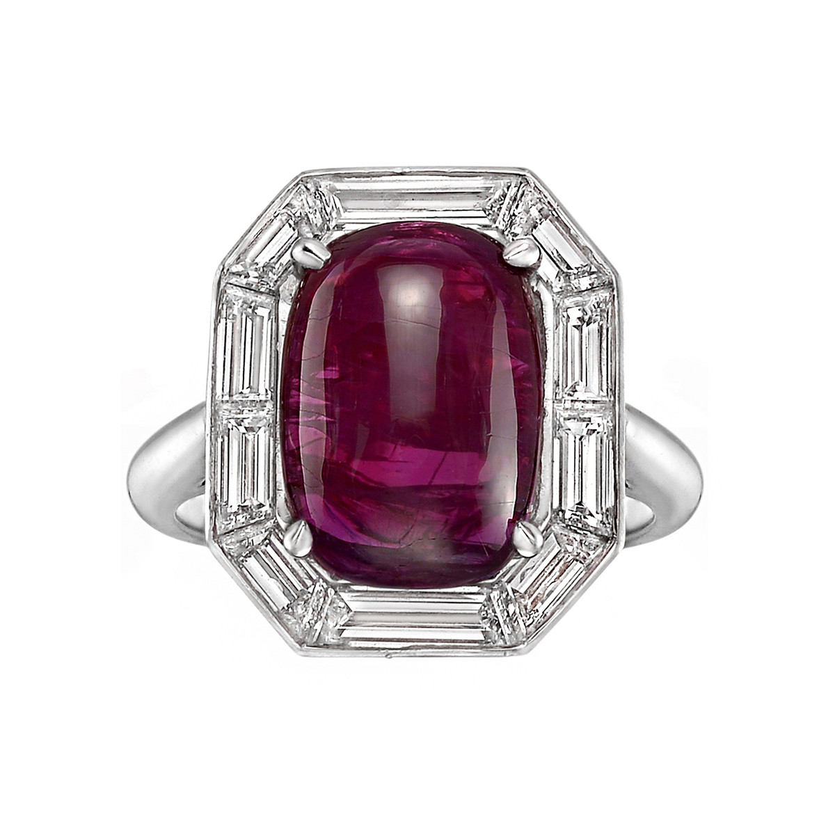8.50ct Cabochon Ruby & Diamond Ring