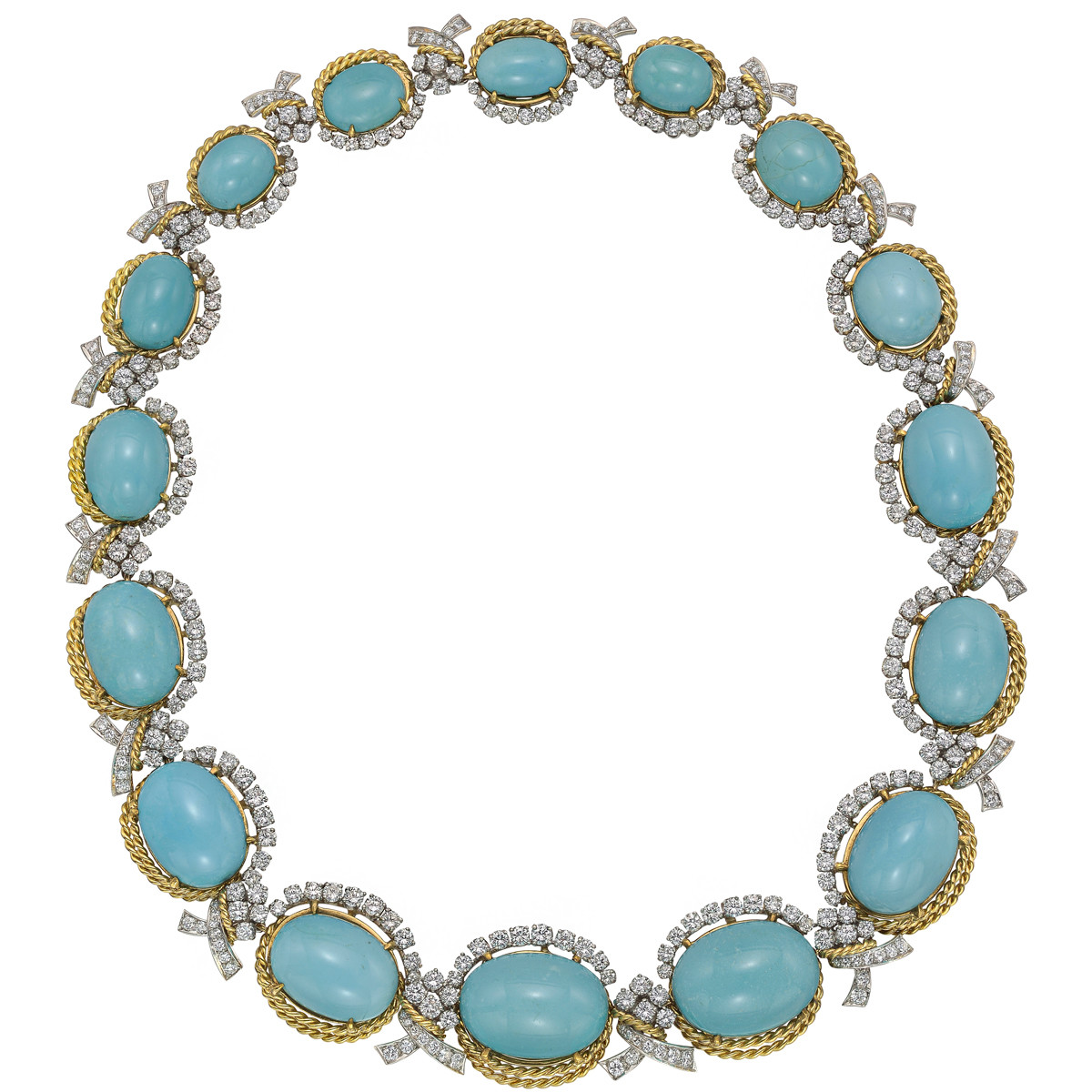 Vintage Turquoise & Diamond Link Necklace