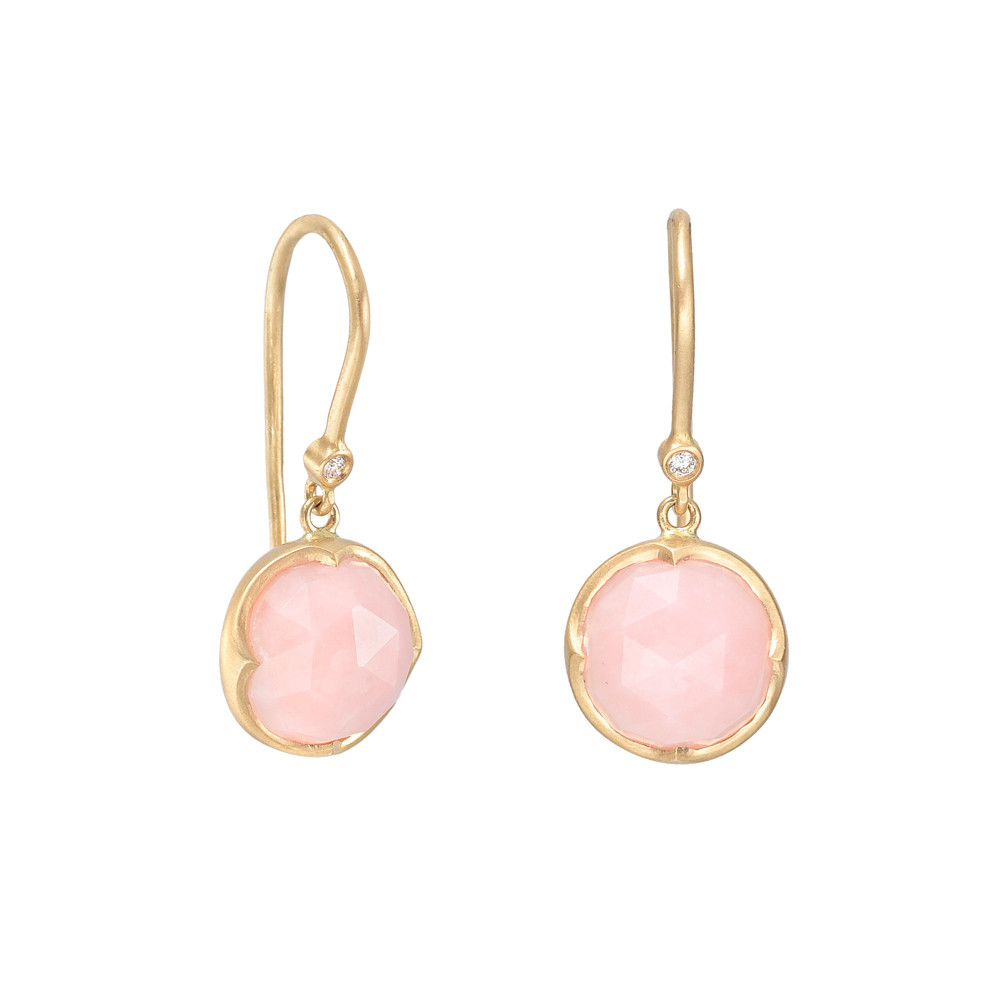 Halo Circular Shaped Rose Cut Pink Opal Drop Earrings In 18k Yellow Gold Accented By Round Diamonds Two Weighing 0 02 Total Carats