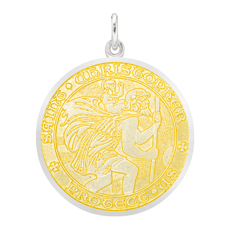 Large Silver St. Christopher Medal with Yellow Enamel