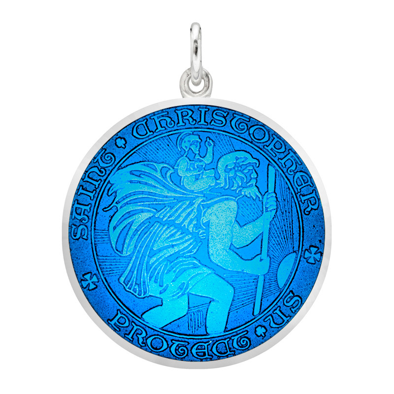 Large Silver St. Christopher Medal with Caribbean Blue Enamel