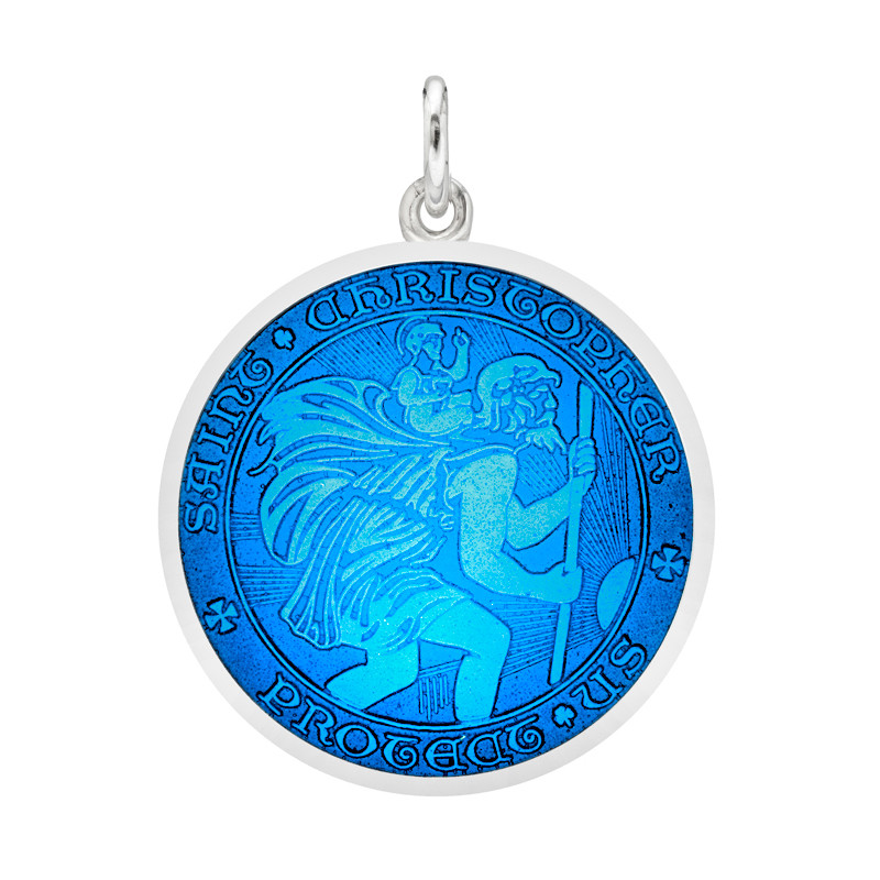Saint christopher medals betteridge medium silver st christopher medal with caribbean blue enamel aloadofball Gallery