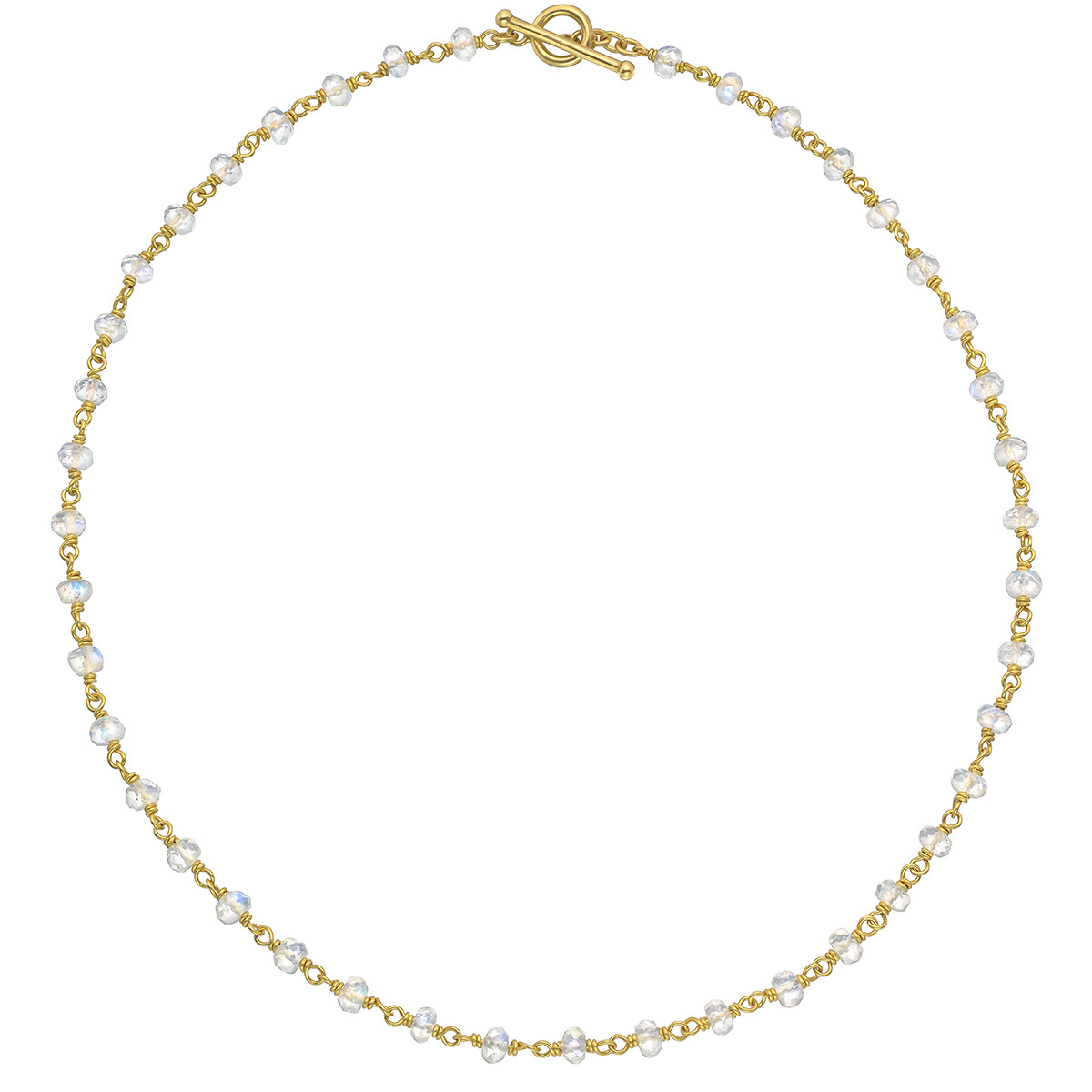 20k Yellow Gold & Moonstone Chain Necklace