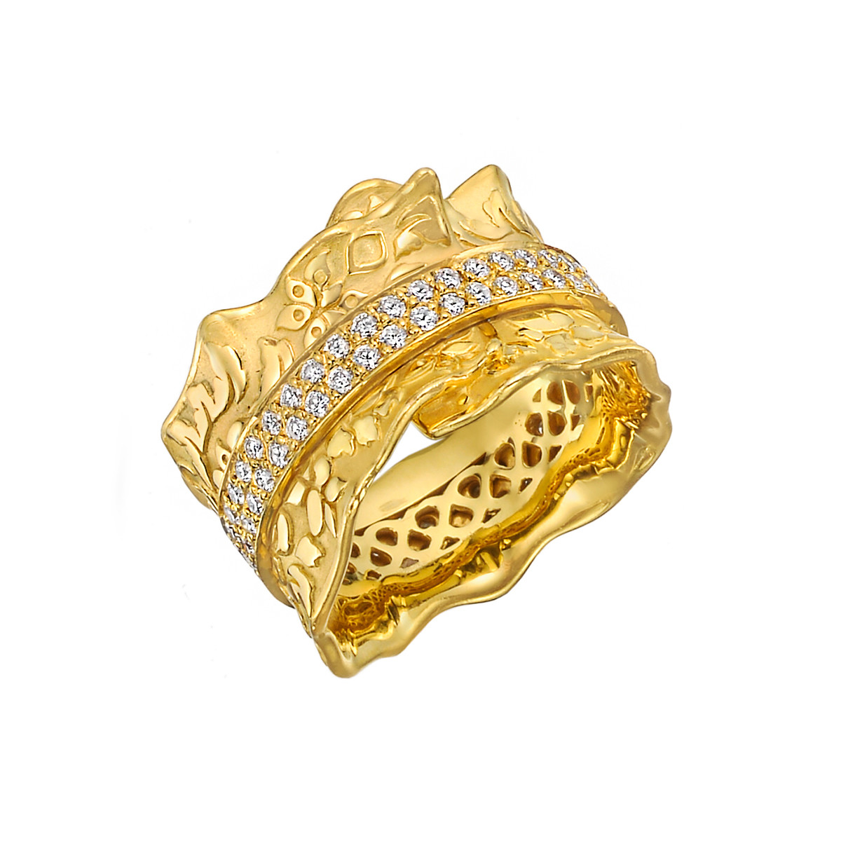 18k Yellow Gold & Diamond Leaf Band Ring