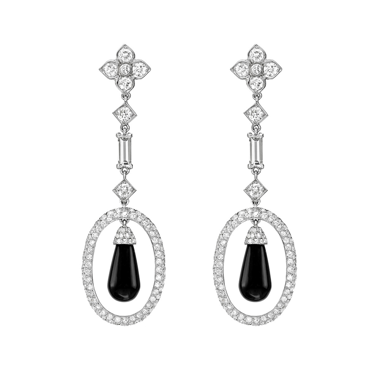 Diamond & Black Onyx Drop Earrings