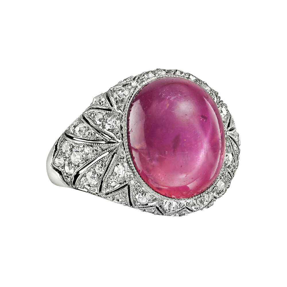 Art Deco Star Pink Sapphire & Diamond Ring