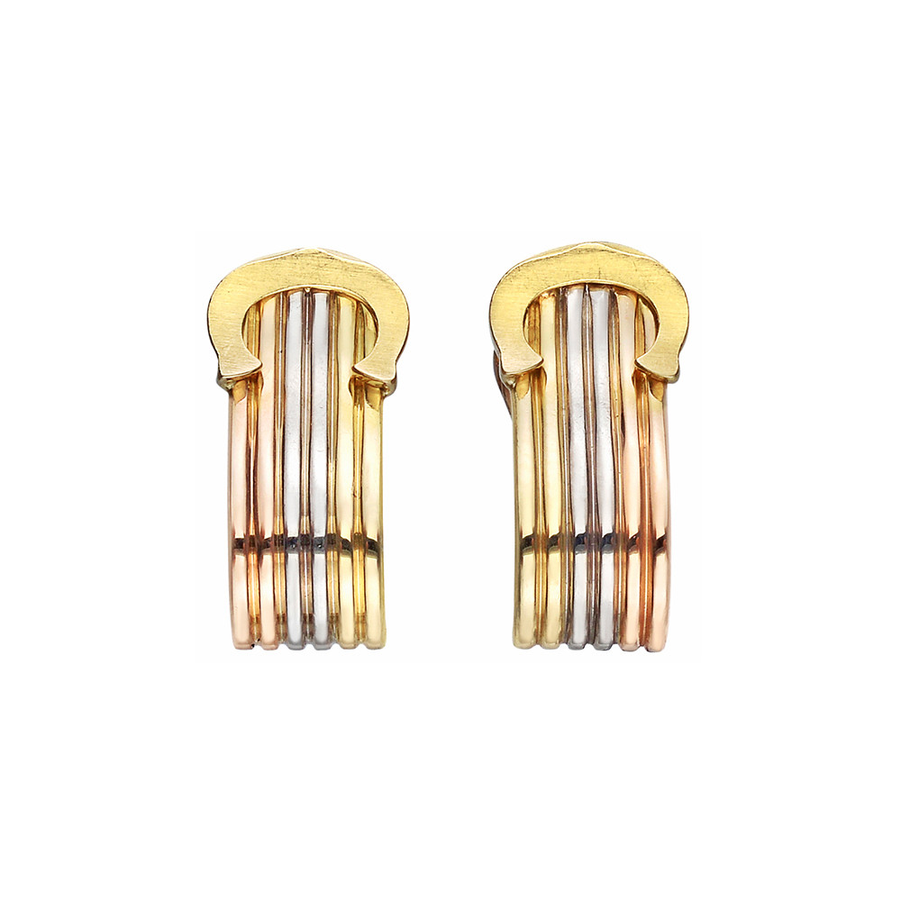 Small 18k Tricolored Gold 'C' Logo Earclips