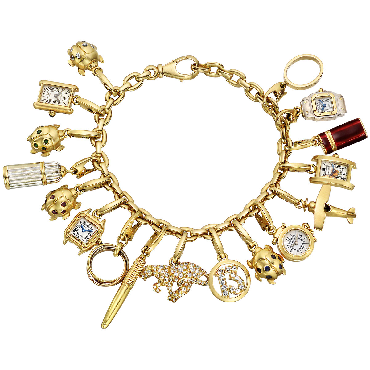 Antique Gold Charm Bracelet: Estate Jewelry
