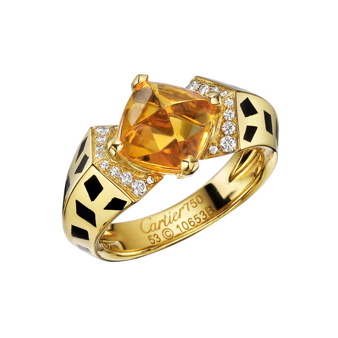 "18k Yellow Gold, Citrine & Diamond ""Panthère"" Ring"